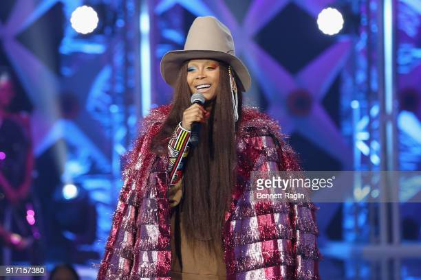 Erykah Badu speaks onstage during BET's Social Awards 2018 at Tyler Perry Studio on February 11 2018 in Atlanta Georgia