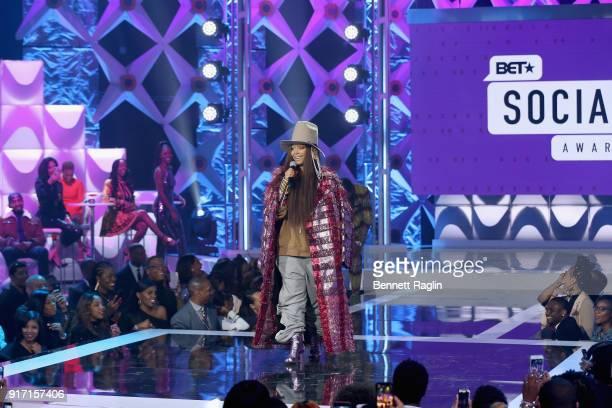 Erykah Badu speaks onstage during BET's Social Awards 2018 at Tyler Perry Studio on February 11 2018 in Atlanta Georgia