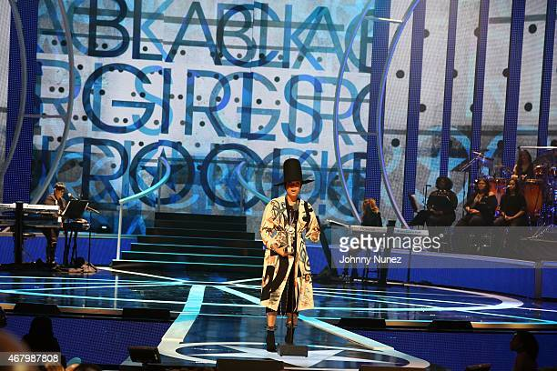 Erykah Badu speaks onstage during Black Girls Rock 2015 at NJ Performing Arts Center on March 28 in Newark New Jersey