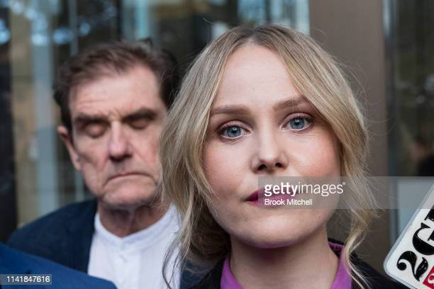 ErynJean Norvill speaks to the media after $850000 damages were awarded to Geoffrey Rush on April 11 2019 in Sydney Australia The threeweek...