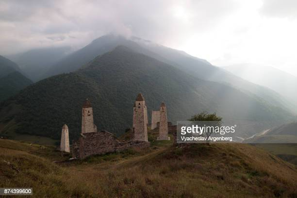 erzi military medieval towers, ingushetia/chechnya, north caucasus - chechnya stock pictures, royalty-free photos & images
