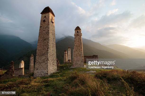 erzi military medieval towers, ingushetia/chechnya - argenberg stock pictures, royalty-free photos & images