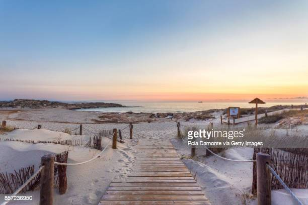 es pujols beach in formentera at dawn balearic islands, spain - insel ibiza stock-fotos und bilder