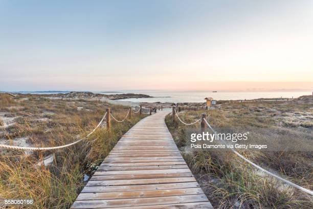 Es Pujols beach in Formentera at dawn Balearic Islands, Spain