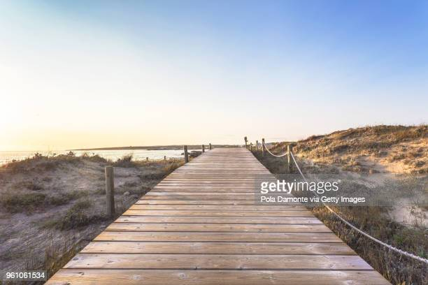 es pujols beach in formentera at dawn balearic islands, spain - boardwalk stock pictures, royalty-free photos & images