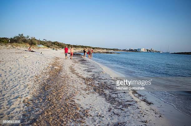 Es Trenc beach near Colonia Saint Jordi at Mallorca Island on June 30 2016 in Colonia Saint Jordi Spain