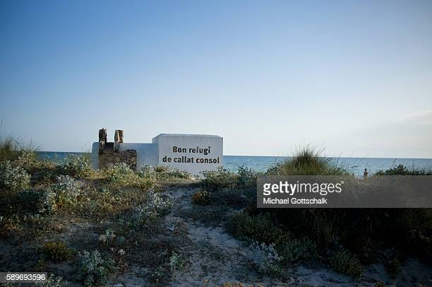 Es Trenc beach with sand dunes near Colonia Saint Jordi at Mallorca Island on June 30 2016 in Colonia Saint Jordi Spain