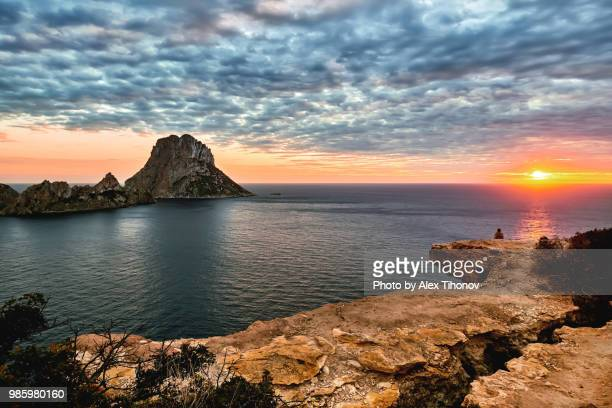 es vedra island at sunset. ibiza island, balearic islands. spain - ibiza island stock pictures, royalty-free photos & images