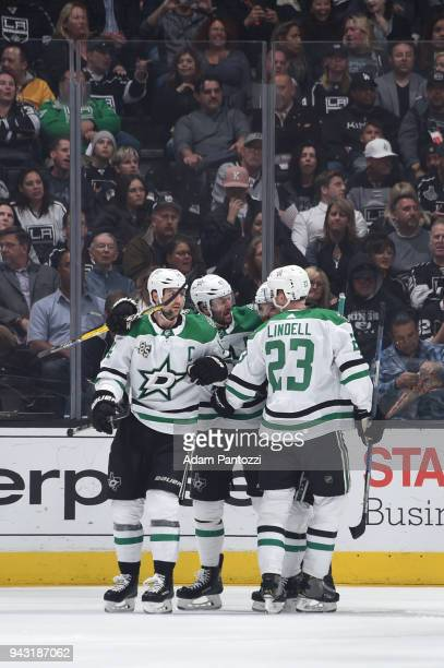 Esa Lindell Alexander Radulov Jamie Benn and Tyler Seguin of the Dallas Stars celebrate after scoring a goal against the Los Angeles Kings at STAPLES...