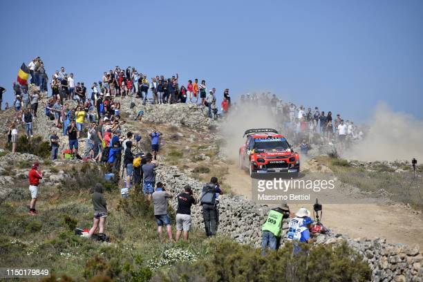 Esaekka Lappi of Finland and Janne Ferm of Finland compete in their Citroen Total WRT Citroen C3 WRC during Day Two of the WRC Italia Sardegna on...