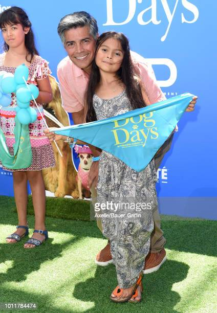 Esai Morales and daughter Mariana Oliveira arrive at the premiere of LD Entertainment's 'Dog Days' at Westfield Century City on August 5 2018 in...