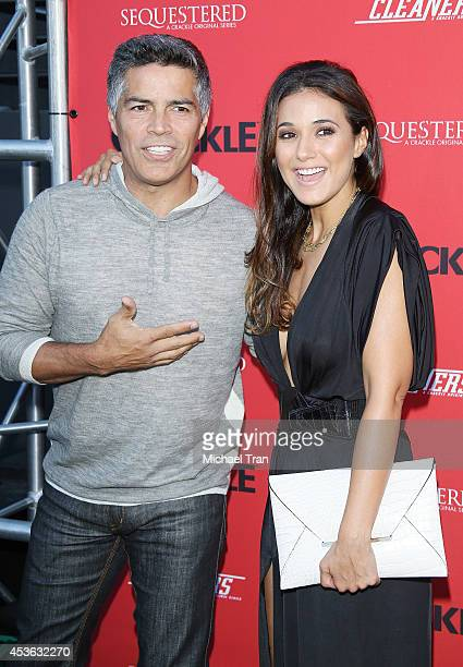 Esai Morales and Emmanuelle Chriqui arrive at the Crackle Original Series' 'Cleaners' and 'Sequestered' Summer premiere celebration held at 1 OAK on...