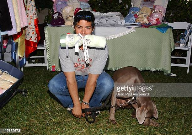 "Esai Morales and his dog at My Blankee during Silver Spoon Dog and Baby Buffet"" Benefitting Much Love Animal Rescue Day One at Private Residence in..."