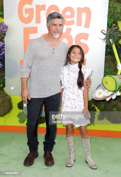 Esai Morales and Mariana Oliveira Morales attend the premiere of Netflix's Green Eggs And Ham at Hollywood American Legion on November 03 2019 in Los...