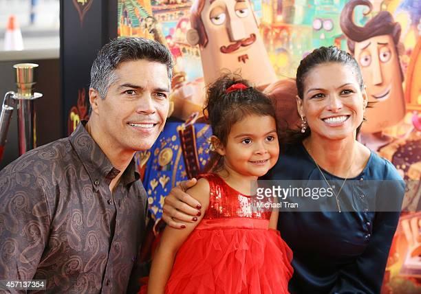 Esai Morales daughter Mariana Oliveira Morales and Elvimar Silva arrive at the Los Angeles premiere of Book Of Life held at Regal Cinemas LA Live on...