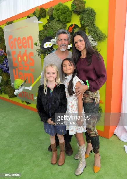 Esai Morales Mariana Oliveira Morales and Elvimar Silva attend Netflix 'Green Eggs Ham' Los Angeles Premiere at Post 43 on November 03 2019 in Los...
