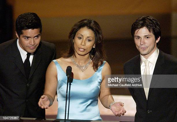 Esai Morales Wanda De Jesus and Freddy Rodriguez during The 2002 ALMA Awards Show at Shrine Auditorium in Los Angeles California United States