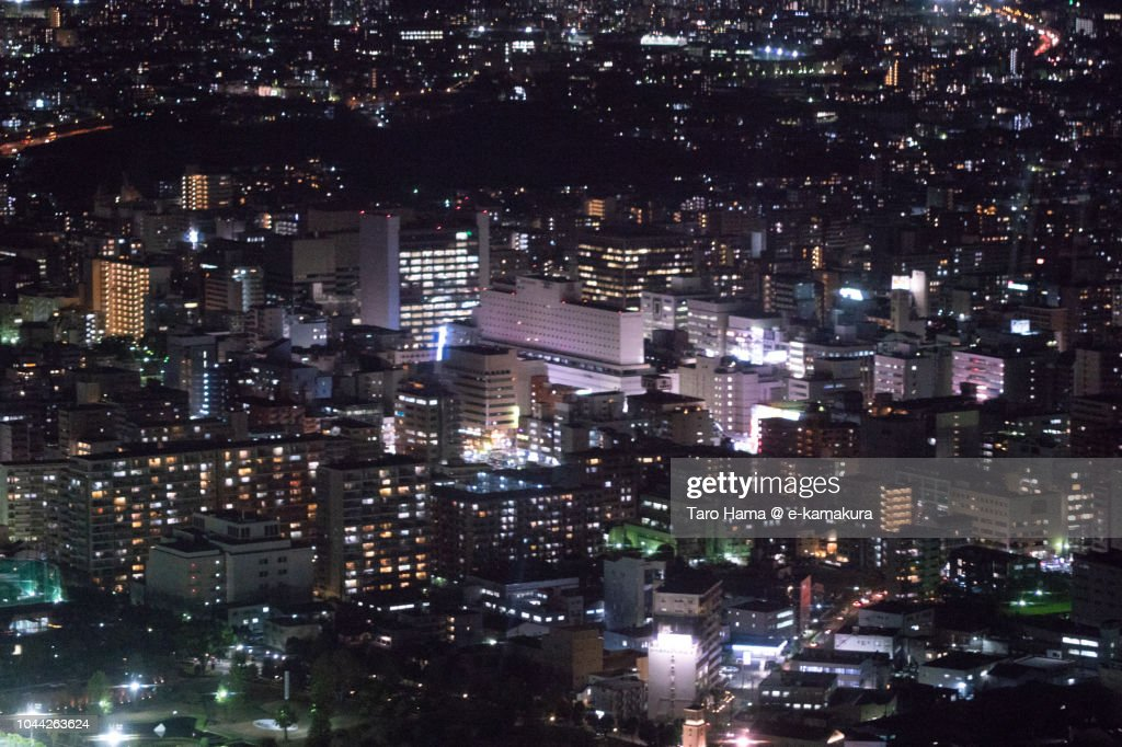 Esaka area in Suita city in Osaka prefecture in Japan night time aerial view from airplane : Stock Photo