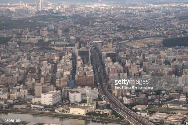 esaka area of suita city in osaka prefecture in japan daytime aerial view from airplane - 吹田市 ストックフォトと画像