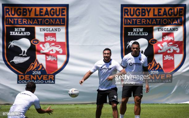 Issac Luke of the New Zealand Kiwis rugby team passes during a training session at University of Denver on June 20 2018 in Denver Colorado