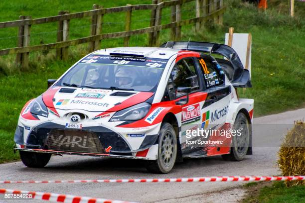 Esapekka Lappi and codriver Janne Ferm of Toyota Gazoo Racing compete on the Cholmondeley Castel tarmac stage of the Rally GB round of the 2017 FIA...