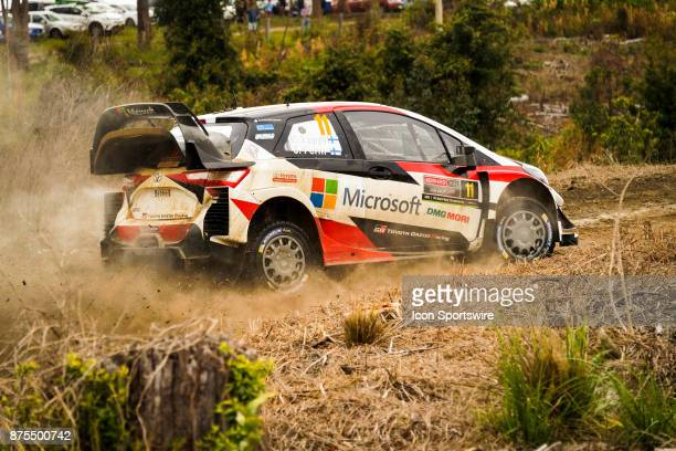 Esapekka Lappi and codriver Janne Ferm of Toyota Gazoo Racing compete during the Pilbara Stage on day one of the Rally Australia round of the 2017...