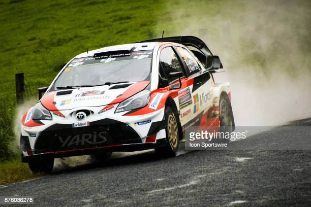 Esapekka Lappi and codriver Janne Ferm of Toyota Gazoo Racing compete in the rain on day two of the Rally Australia round of the 2017 FIA World Rally...