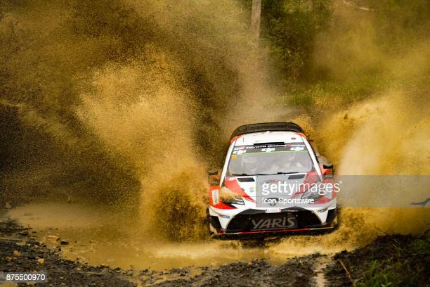 Esapekka Lappi and codriver Janne Ferm of Toyota Gazoo Racing cross a creek during the Pilbara Stage on day one of the Rally Australia round of the...