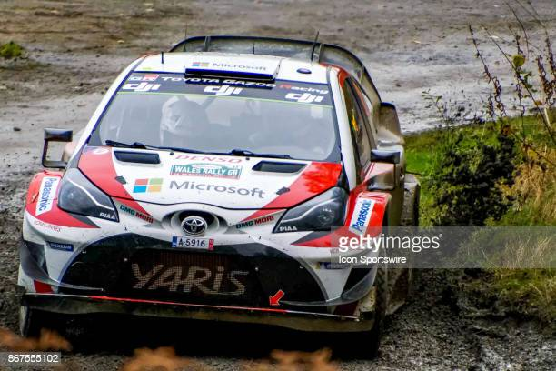 Esapekka Lappi and codriver Janne Ferm of Toyota Gazoo Racing exit a hairpin bend on the Dyfnant stage of the Rally GB round of the 2017 FIA World...