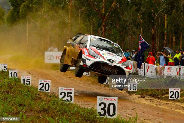 Esapekka Lappi and codriver Janne Ferm of Toyota Gazoo Racing get some air on a jump during during the Wedding Wells Power Stage on the final day of...