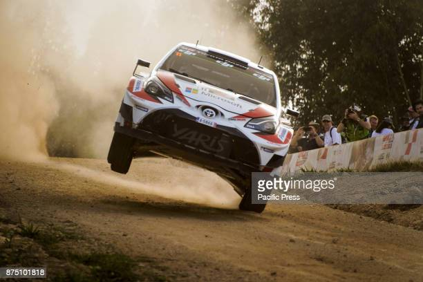 Esapekka Lappi and codriver Janne Ferm of Toyota Gazoo Racing gets some air on a jump during the Shakedown stage of the Rally Australia round of the...
