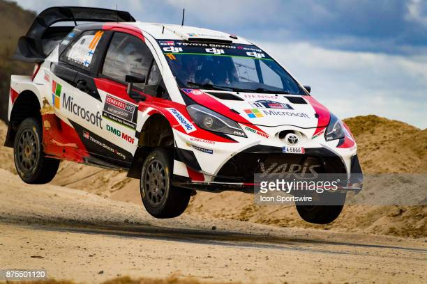 Esapekka Lappi and codriver Janne Ferm of Toyota Gazoo Racing gets some air on a jump during Super Special Stage the Rally Australia round of the...