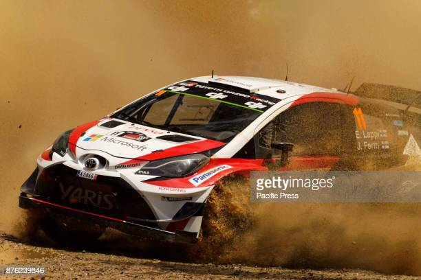 Esapekka Lappi and codriver Janne Ferm of Toyota Gazoo Racing power thro a water splash during the Wedding Wells Power Stage on the final day of the...