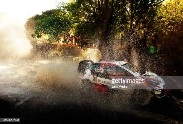 Esapekka Lappi and Janne Ferm from Toyota Gazzo Racing WRT Team during the section in the hill as a part of Day three of the FIA World Rally...