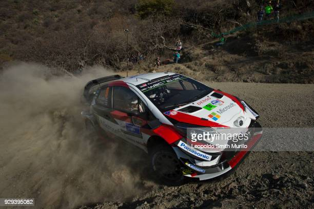 Esapekka Lappi and Janne Ferm of Finland and Toyota Gazoo Racing WRT drive a Toyota Yaris WRC during the Shakedown as a part of Day One of the FIA...