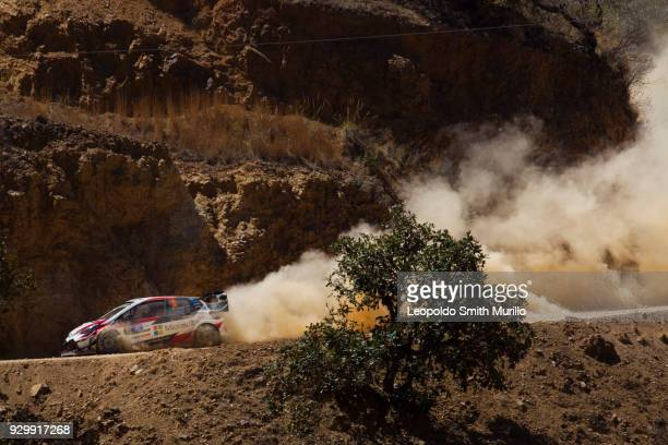 Esapekka Lappi and Janne Ferm of Toyota Gazoo Racing WRT Team drive during Day Two of the FIA World Rally Championship Mexico 2018 on March 9 2018 in...