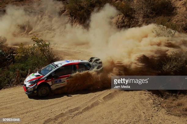 Esapekka Lappi and Janne Ferm of Toyota Gazzo Racing WRT Team drive during the section in the hill as a part of Day Two of the FIA World Rally...
