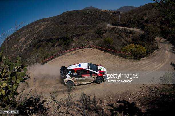 Esapekka Lappi of Finland and copilot Janne Ferm from Toyota Gazoo Racing drive during the Shakedown stage on day one of the FIA World Rally...