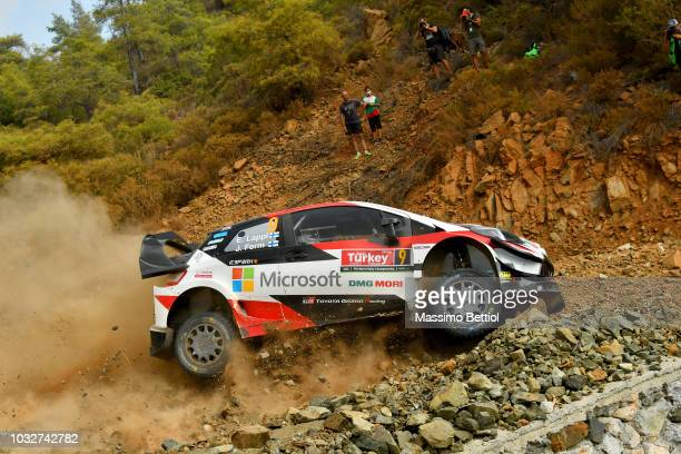 Esapekka Lappi of Finland and Janne Ferm of Finland compete in their Toyota Gazoo Racing WRT Toyota Yaris WRC during the Shakedown of the WRC Turkey...
