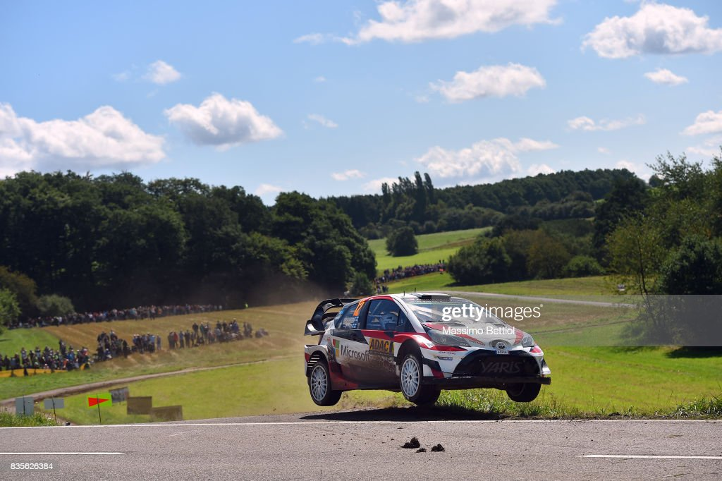 Esapekka Lappi of Finland and Janne Ferm of Finland compete in their Toyota Gazoo Racing WRT Toyota Yaris WRC during Day Two of the WRC Germany on August 19, 2017 in Trier, Germany.
