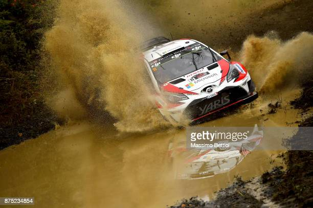 Esapekka Lappi of Finland and Janne Ferm of Finland compete in their Toyota Gazoo Racing WRT Toyota Yaris WRC during Day One of the WRC Australia on...