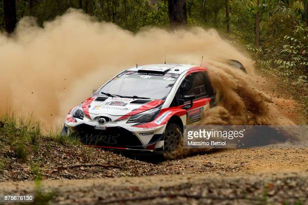 Esapekka Lappi of Finland and Janne Ferm of Finland compete in their Toyota Gazoo Racing WRT Toyota Yaris WRC during Day Two of the WRC Australia in...