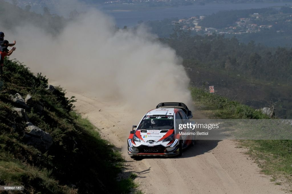 Esapekka Lappi of Finland and Janne Ferm of Finland compete in their Toyota Gazoo Racing WRT Toyota Yaris WRC during Day Two of the WRC Portugal on May 18, 2018 in Faro, Portugal.