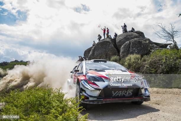 Esapekka Lappi of Finland and Janne Ferm of Finland compete in their Toyota Gazoo Racing WRT Toyota Yaris WRC during the SS13 Vieira do Minho of the...