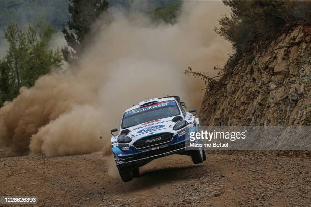 Esapekka Lappi of Finland and Janne Ferm of Finland compete with their M-Sport FORD WRT Ford Fiesta WRC during Day Two of the FIA World Rally...