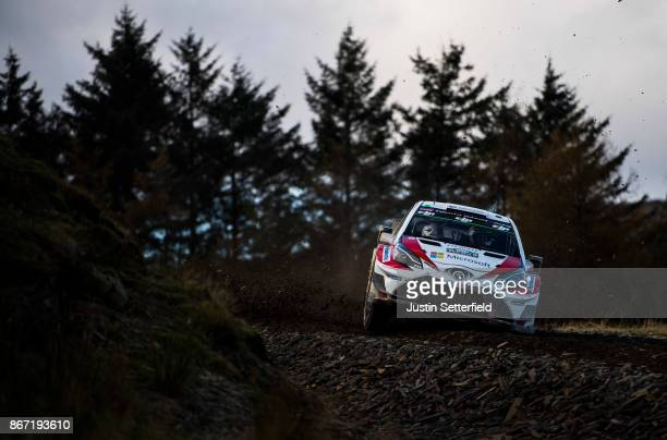 Esapekka Lappi of Finland and Toyota Gazoo Racing WRT drives with codriver Janne Fern of Finland during the Sweet Lamb stage of the FIA World Rally...