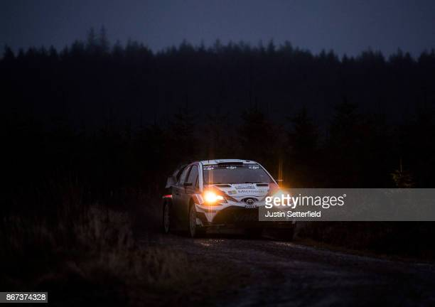 Esapekka Lappi of Finland and Toyota Gazoo Racing WRT drives with codriver Janne Fern of Finland during the Aberhirnant stage FIA World Rally...