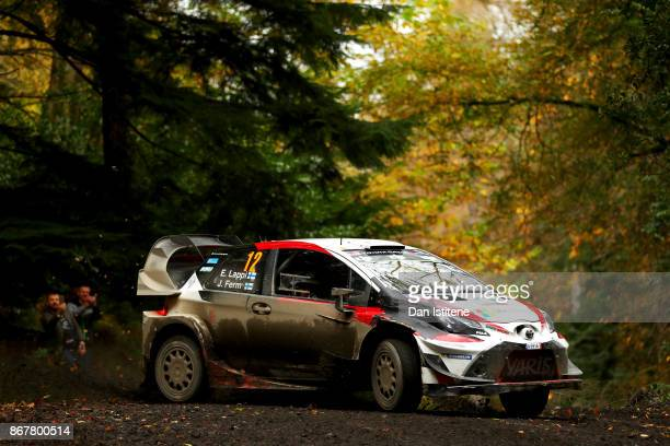 Esapekka Lappi of Finland and Toyota Gazoo Racing WRT drives with codriver Janne Fern of Finland during day three of the FIA World Rally Championship...