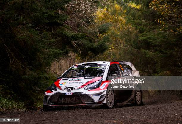 Esapekka Lappi of Finland and Toyota Gazoo Racing WRT drives with codriver Janne Fern of Finland during the Gwydir stage of the FIA World Rally...