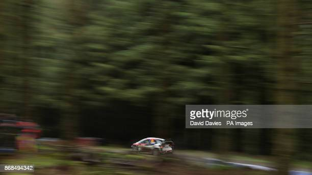 Esapekka Lappi of Finland and Toyota Gazoo Racing WRT drives with codriver Janne Fern of Finland during day four of the Dayinsure Wales Rally GB...